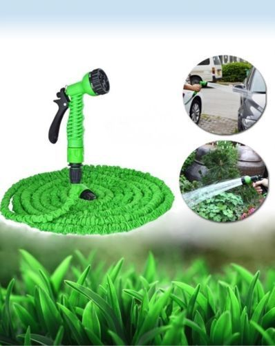 GREEN 75ft EXPANDING MAGIC POWERFUL HOSE PIPE GARDEN WITH FREE 7 SPEED SPRAY